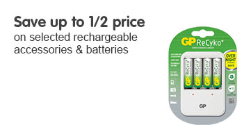 Save up to half price on selected rechargeable accessories and batteries