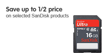 Save up to 1/2 price on selected SanDisk products