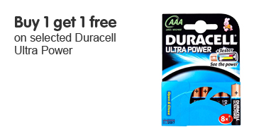 Buy 1 get 1 free on selected Duracell Ultra Power