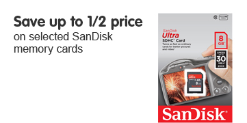 Save up to 1/2 price on selected Sandisk memory cards