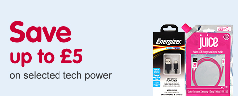 Save up to £5 on selected tech power