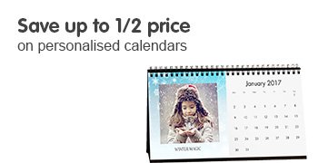 Save up to 1/2 price on personalised calendars