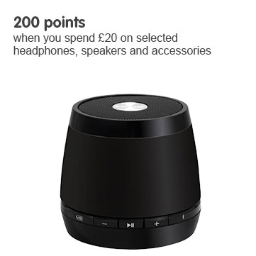 200 points when you spend £20 on selected headphones, speakers and accessories