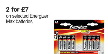 2 for £7 on selected Energizer Max batteries