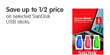 Save up to 1/2 price on selected Sandisk USB sticks