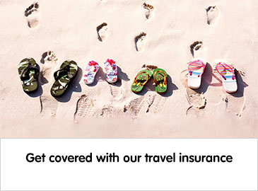 Get covered with our travel insurance